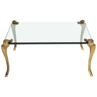 Glass and Gilt Bronze Cocktail Table Attributed to p.e. Geurin For Sale
