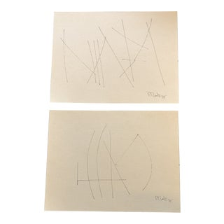 Gallery Wall Collection 2 Original Vintage Robert Cooke Abstract Ink Drawings - a Pair For Sale