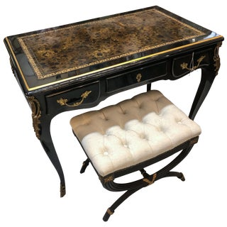 Louis XV Style Desk / Secretary With Neoclassical Stool Set For Sale