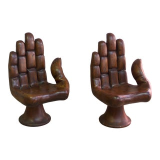 Pedro Friedeberg Style Carved Wood Hand Chairs - a Pair For Sale