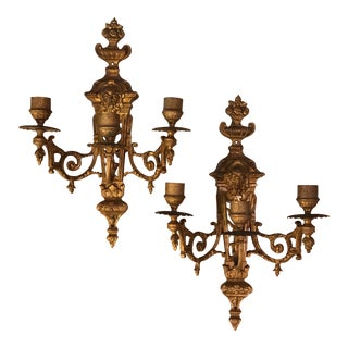 French Empire Brass Wall Sconce Candle Holders - A Pair For Sale