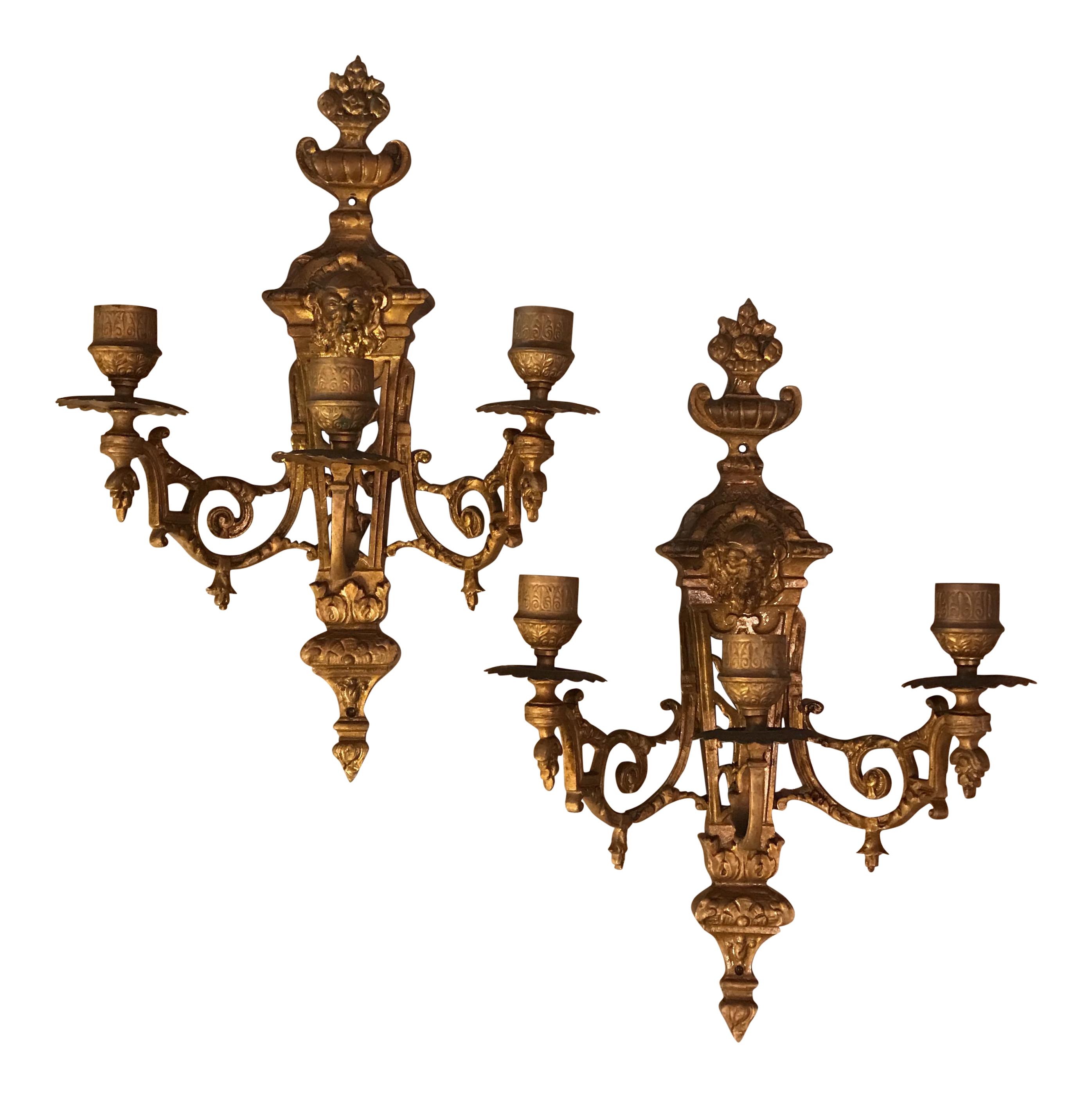 French Empire Brass Wall Sconce Candle Holders   A Pair   Image 1 Of 10