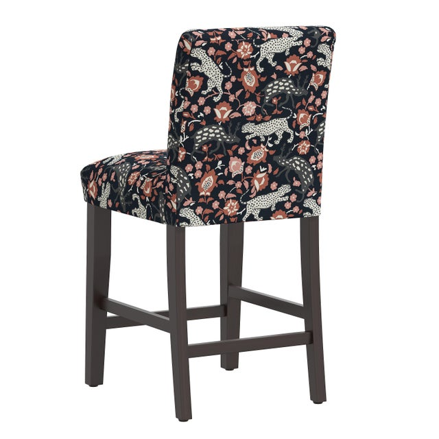 Counter Stool in Leopard Coral Navy For Sale - Image 4 of 8