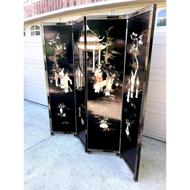 Asian 1940's Asian Jade and Black Lacquer Coromandel Room Divider For Sale - Image 3 of 13