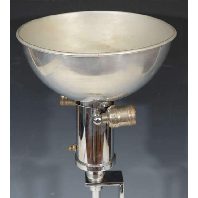 1930s RARE ART DECO NICKEL AND BRASS LAMP BY GILBERT ROHDE For Sale - Image 5 of 6