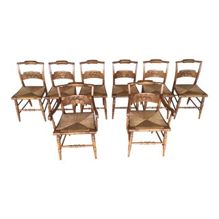 L. Hitchcock Vintage Crown Back Rush Bottom Dining Chairs - Set of 8 For Sale