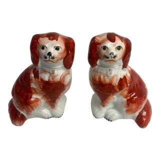 Antique 1870's Red & White Staffordshire Dogs - a Pair For Sale