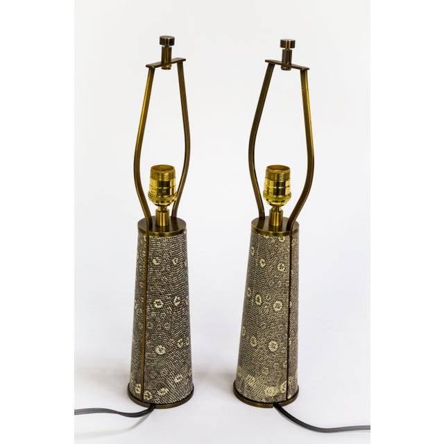 Gold Lizard Skin & Bronze Borrego Lamps by Tuell + Reynolds - a Pair For Sale - Image 8 of 12