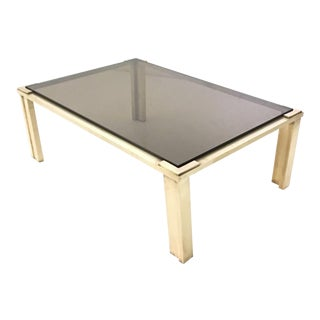 Brass Coffee Table with a Smoked Glass Top, Italy, 1970s For Sale