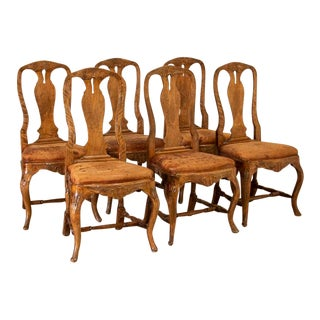 Set of 6 Antique Swedish Rococo Dining Chairs For Sale