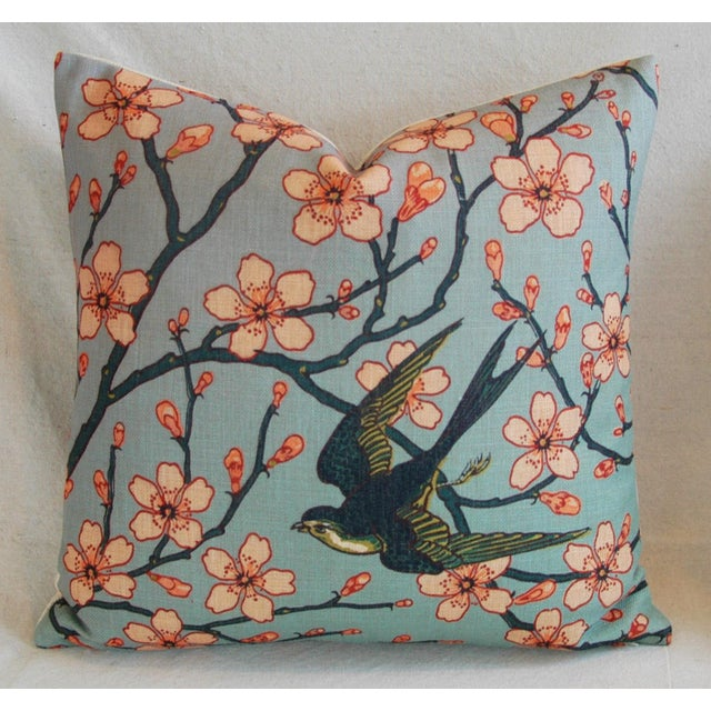 Late 20th Century Magnolia Blossoms/Swallow Down & Feather Pillows - a Pair For Sale - Image 5 of 12