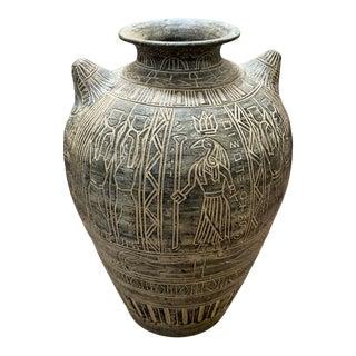 1980s Postmodern Egyptian Revival Large Pottery Floor Vase For Sale