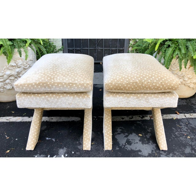 2010s Pair of Nancy Corzine Silk Velvet Designer X Bench Ottomans For Sale - Image 5 of 6