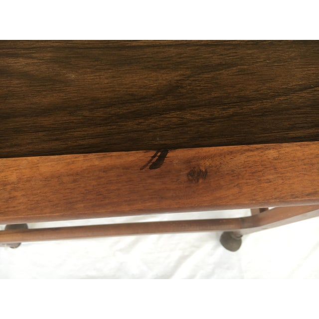 Wood Small Mid-Century Modern Wooden Rolling Tray Table Cart For Sale - Image 7 of 12