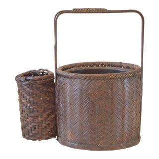 Vintage Japanese Brown Ikebana Basket For Sale