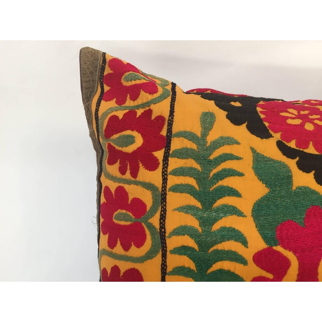 Large Vintage Colorful Suzani Embroidery Throw Pillow For Sale In Los Angeles - Image 6 of 13