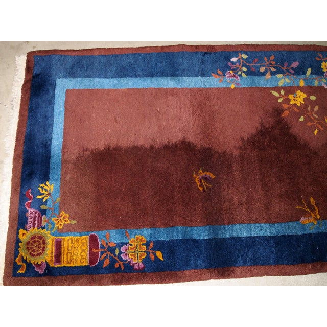 1920s Handmade Antique Art Deco Chinese Rug 3' X 4.11' For Sale - Image 12 of 13