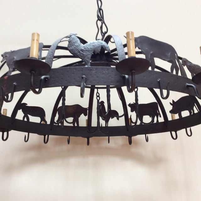 Black Large Iron Farm Animal Themed Pot Rack Chandelier For Sale - Image 8 of 10