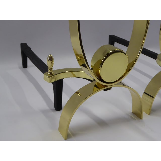 Donald Deskey Modernist Brass Andirons - A Pair For Sale - Image 9 of 11