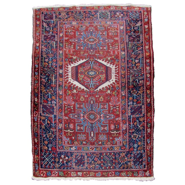 1920s, Handmade Antique Persian Heriz Rug 4.9' X 6.1' For Sale - Image 11 of 11