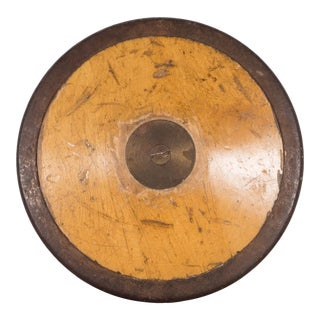 Antique Wood and Brass Discus C.1920 For Sale