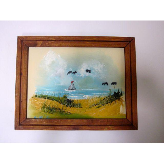 Coastal Beach Scene Signed Painting - Image 7 of 9