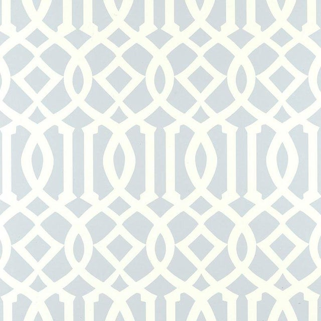 Schumacher Imperial Trellis Wallpaper in Soft Aqua Blue - 2-Roll Set (9 Yards) For Sale