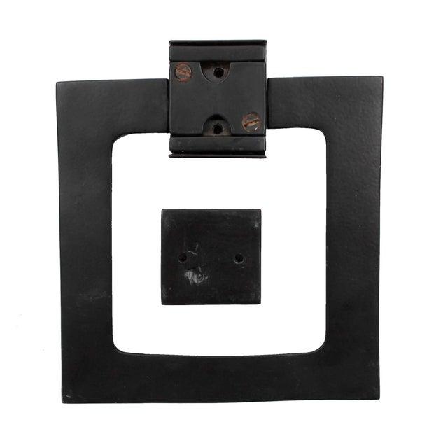 Large Modern Black Door Knocker, Matching Strike Plate For Sale - Image 4 of 5