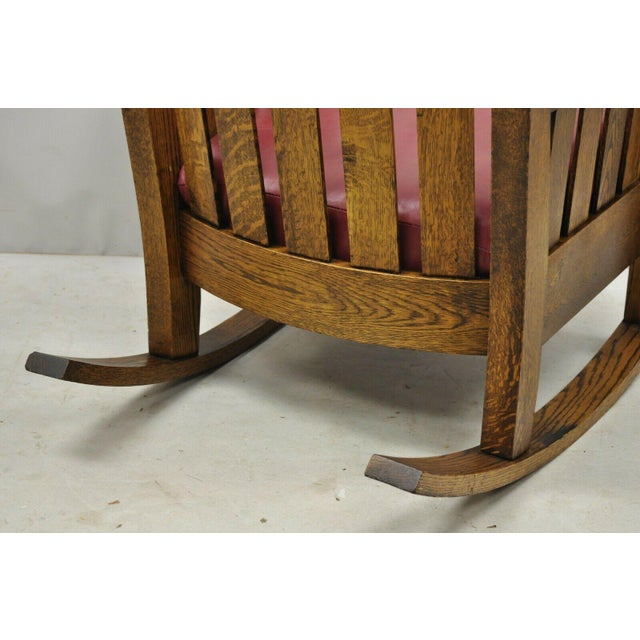 Early 20th Century Harden Mission Oak Arts & Crafts Stickley Style Rocking Chair Rocker Armchair For Sale - Image 10 of 13