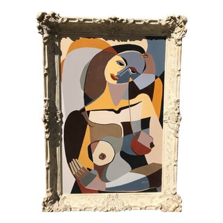 """Vintage Oil Cubist Nude, """"Homage to Picasso"""" For Sale"""