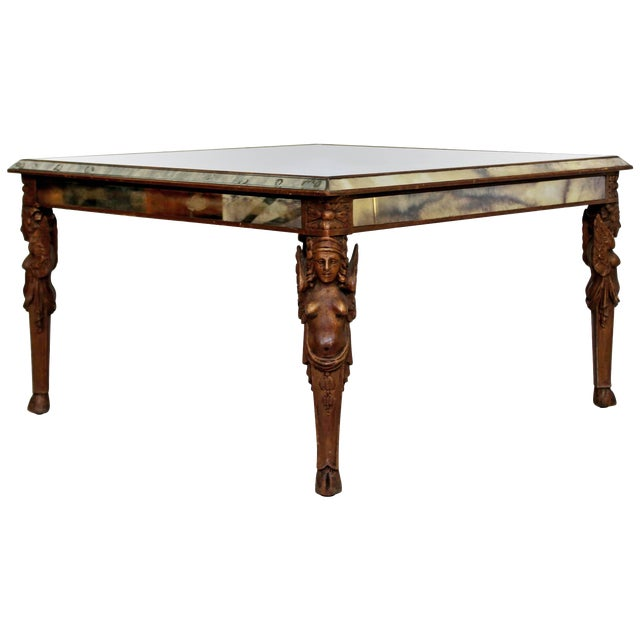 Antique Art Deco Carved Wood and Mirrored Glass Coffee Occasional Table For Sale
