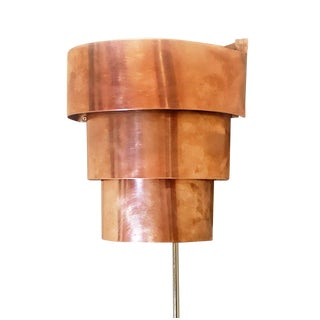 Mid 20th Century Art Deco Industrial Solid Copper Corner Sconce Uplight For Sale