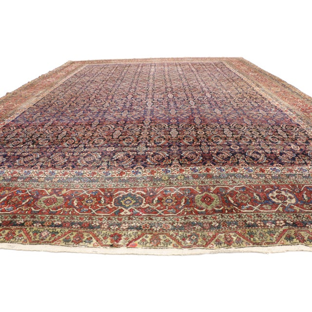 Aesthetic Movement Early 20th Century Antique Mahal Rug - 12′3″ × 16′4″ For Sale - Image 3 of 7