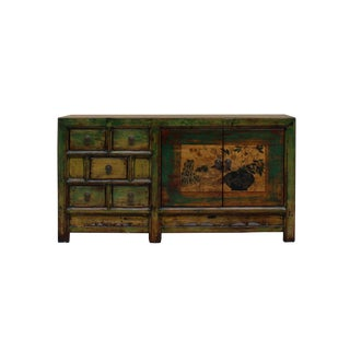 Chinese Distressed Green Yellow Flower Sideboard Table Cabinet