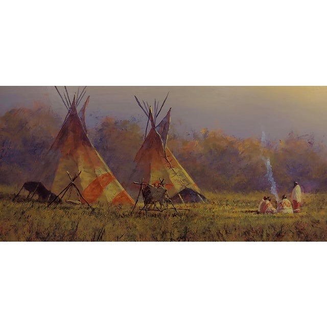 Mark Geller -Panoramic View of Teepees in an Indian Camp -Oil Painting For Sale - Image 4 of 10