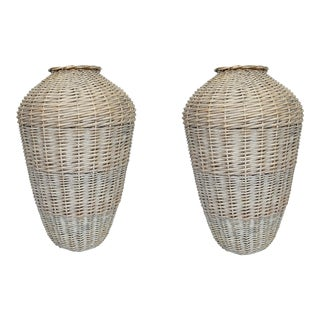 Vintage French Rattan Vases - a Pair