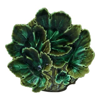 Majolica Leave Shape Plate Josef Steidl Znaim, Circa 1890 For Sale