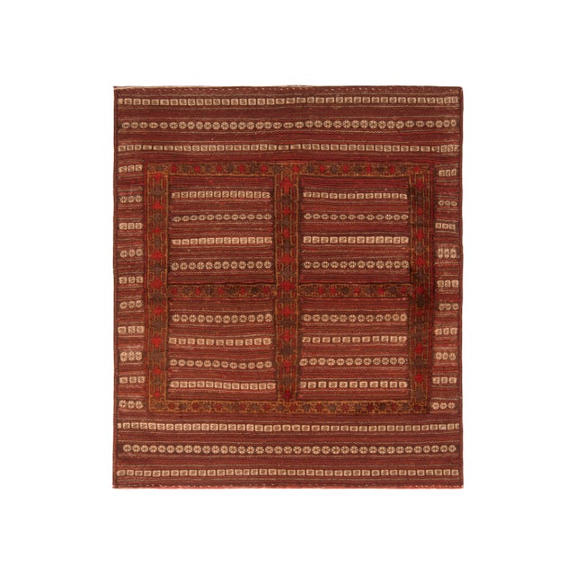 Antique Geometric Red and Brown Wool Kilim Rug For Sale In New York - Image 6 of 6