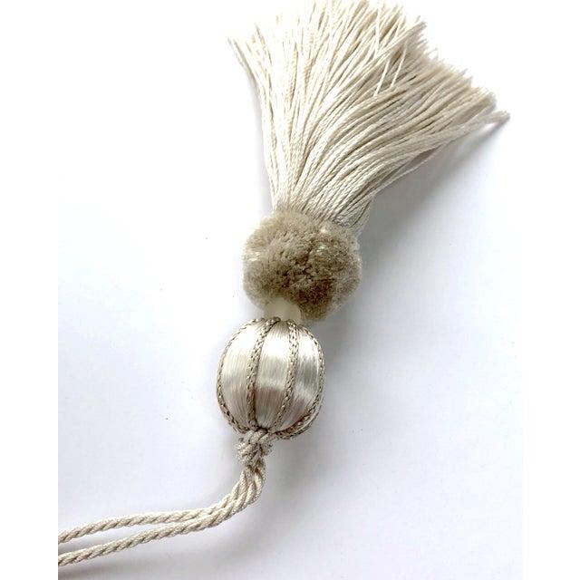 "Glass Boho Chic Ivory Beaded Key Tassel - 4.5"" For Sale - Image 7 of 8"