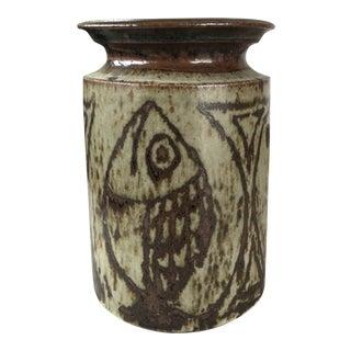 Vintage Mid Century Modern Studio Pottery Fish Vase For Sale