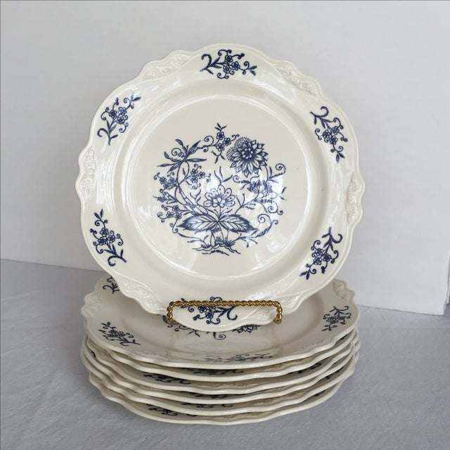 7 Blue Dresden lunch plates made in the U. S. A. by Sheffield. Traditional blue pattern and monochromatic flower on the...