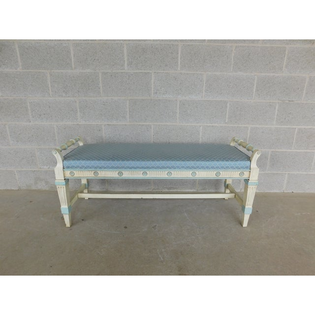 Hickory White Regency Style Paint Decorated Window Accent Bench For Sale - Image 9 of 9