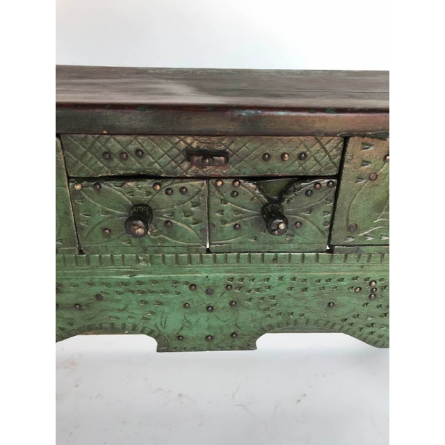 Antique Painted Guatemalan Nahuala Lion's Leg Folk Art Table With Five Drawers For Sale In Los Angeles - Image 6 of 11