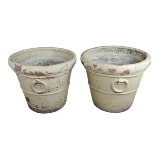 19th Century Antique Large Terra-Cotta Planters - A Pair For Sale