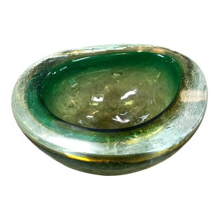 1950s Italian Murano Italian Bright Green Art Glass Decorative Bowl