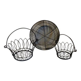 Round Black Wire Baskets – Set of 3 For Sale