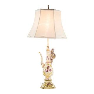 20th Century Victorian Porcelain Tea Pitcher Table Lamp For Sale