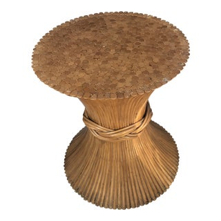 1960s Boho Chic McGuire Style Sheath Bamboo Table Base For Sale