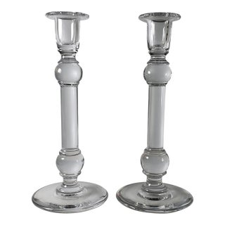 Tall Signed Val St.Lambert Crystal Candle Holders - a Pair For Sale