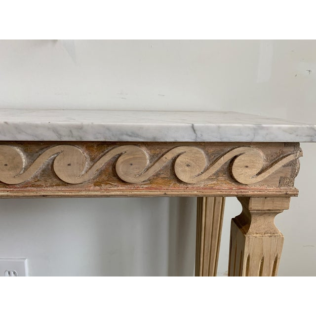 Mid-Century Modern Gustavian Style Wood Carved Console With Carrara Marble Top For Sale - Image 3 of 6